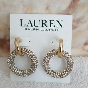 New Ralph Lauren  Pave Ring Drop Earrings